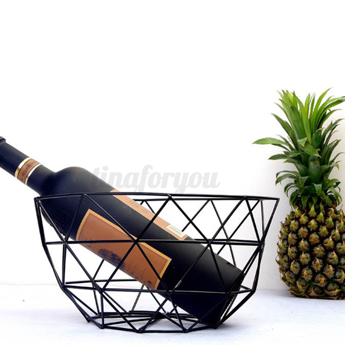 Designer Fruit Basket Geometric Metal Wire Decorative Storage Display Basket