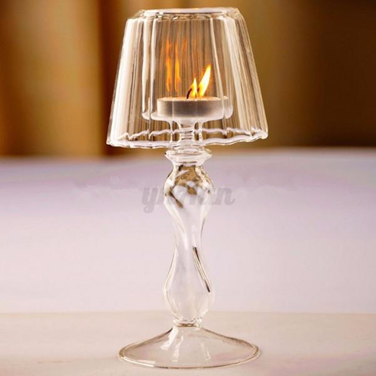 Tealight Lamp Glass Retro Crystal Candle Tea Light Lamp Holder Wedding