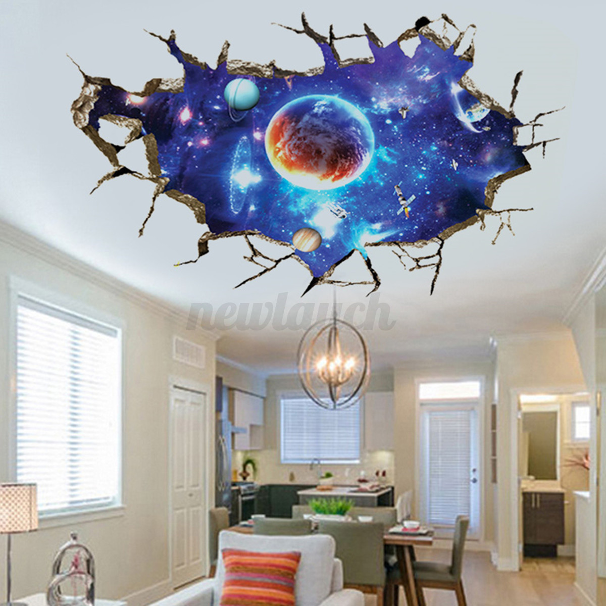 Adesivi 3d Per Testata Letto 3d Planet Outer Space Wall Stickers Home Decor Mural Art