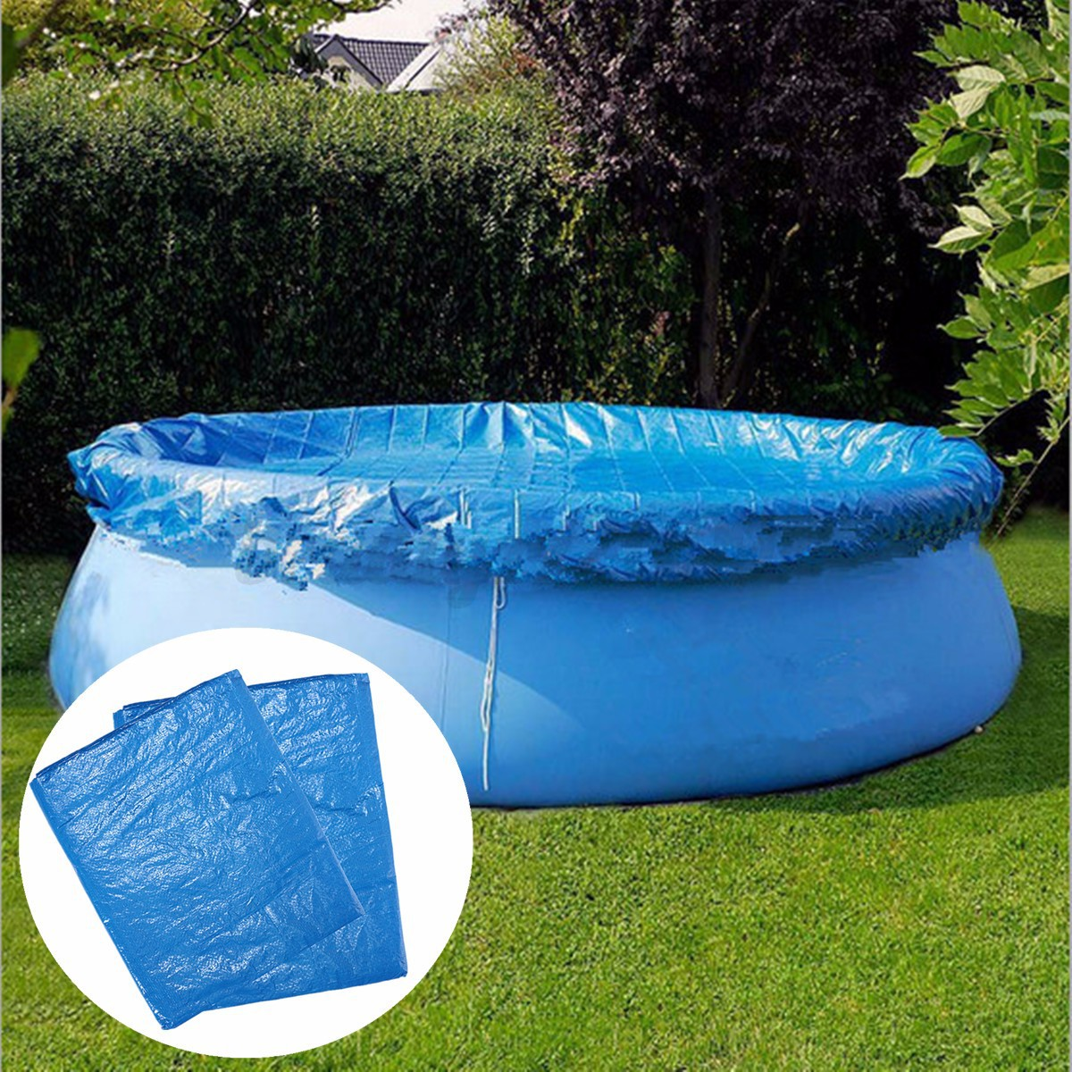 Pool Polyester Rund 8ft 10ft Swimming Pool Cover Round With Rope Ties