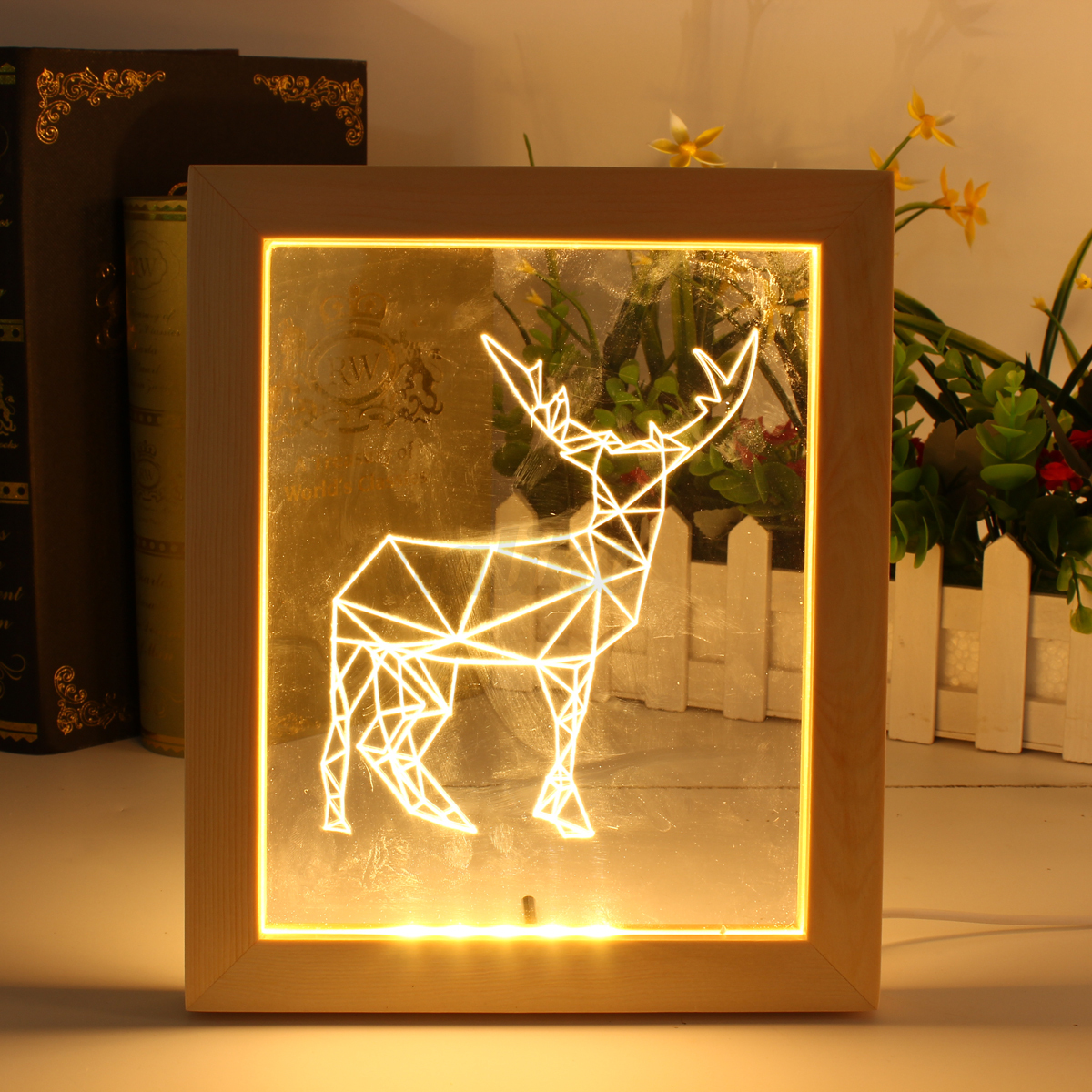 Touch Key Beleuchtung 3d Led Wooden Photo Frame Acrylic Night Light Decoration