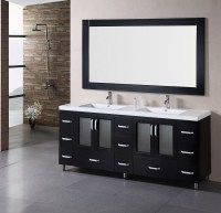 Black Bathroom Vanity with Double Sinks (6791)