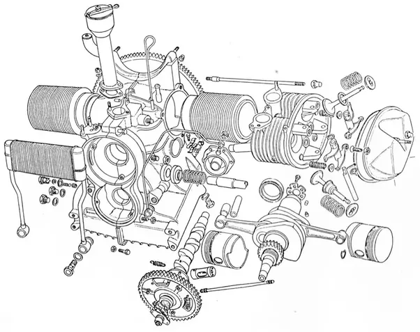 four cycle engine cutaway diagram
