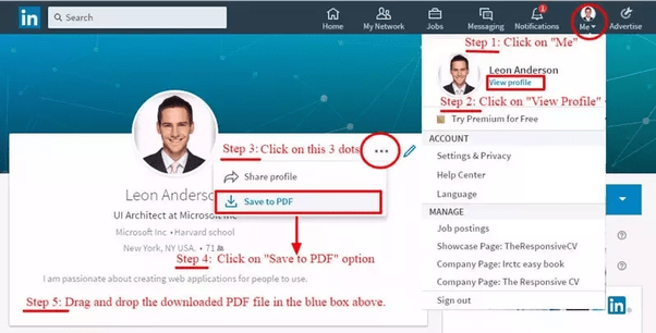 how to export a linkedin cv in pdf