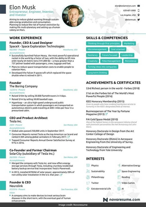 elon musk one page resume template