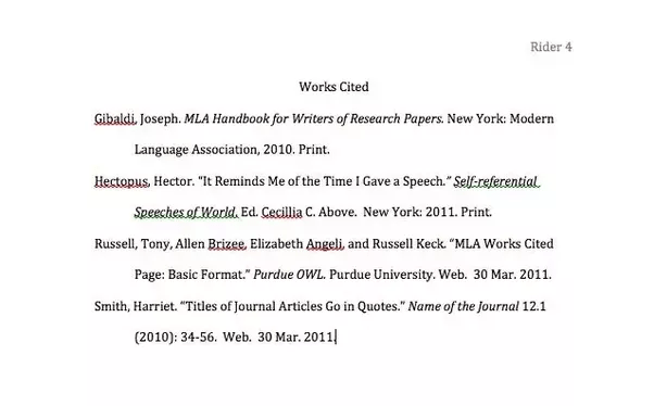 how to do a mla works cited page