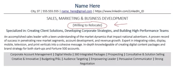 resume cover letter for relocation