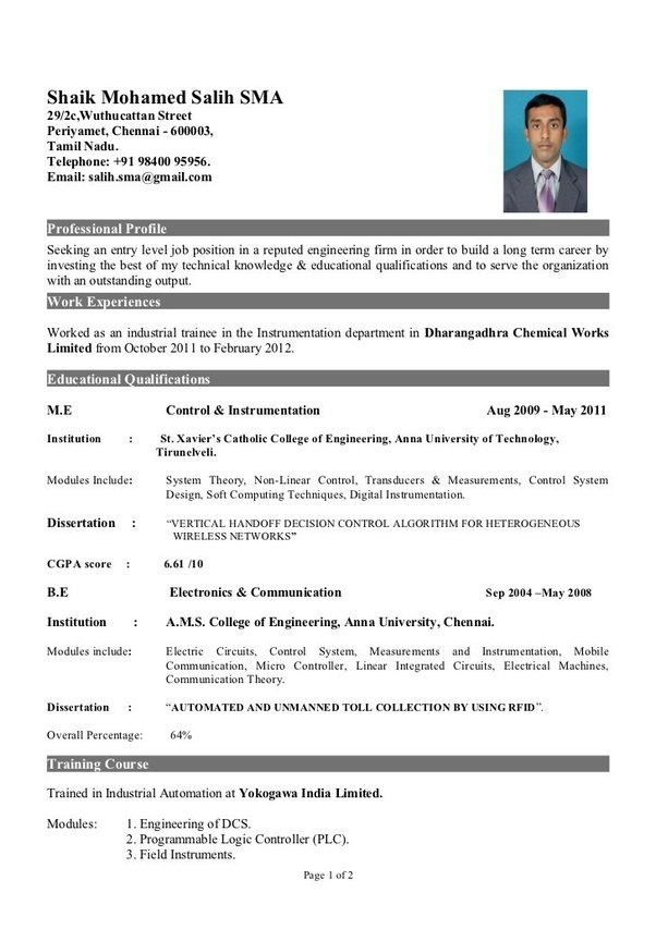 how to make a resume for fresher engineer