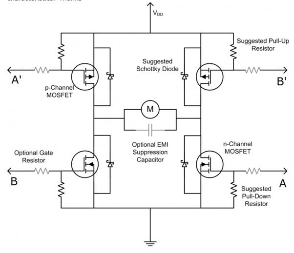 input hbridge circuit using power mosfets