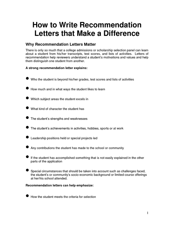 who can write letter of recommendation