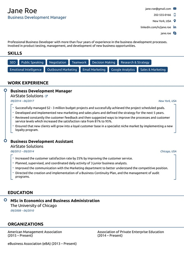 american cv format pdf