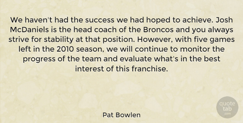 Pat Bowlen We haven\u0027t had the success we had hoped to achieve Josh