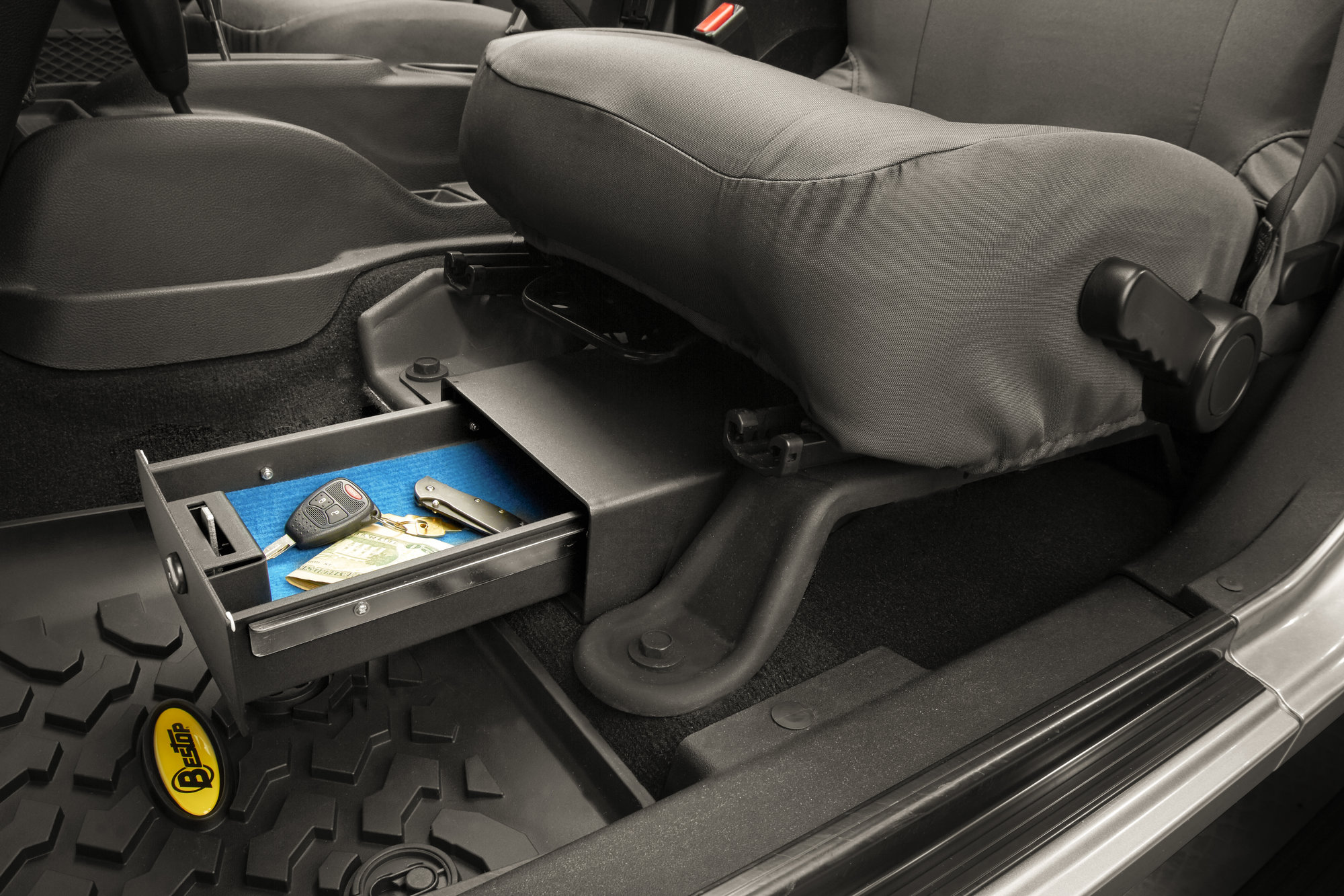 Seating With Storage Underneath Bestop 42640 01 Locking Under Seat Storage Box In Textured Black For 07 10 Jeep Wrangler 07 18 Wrangler Unlimited Jk Driver Side