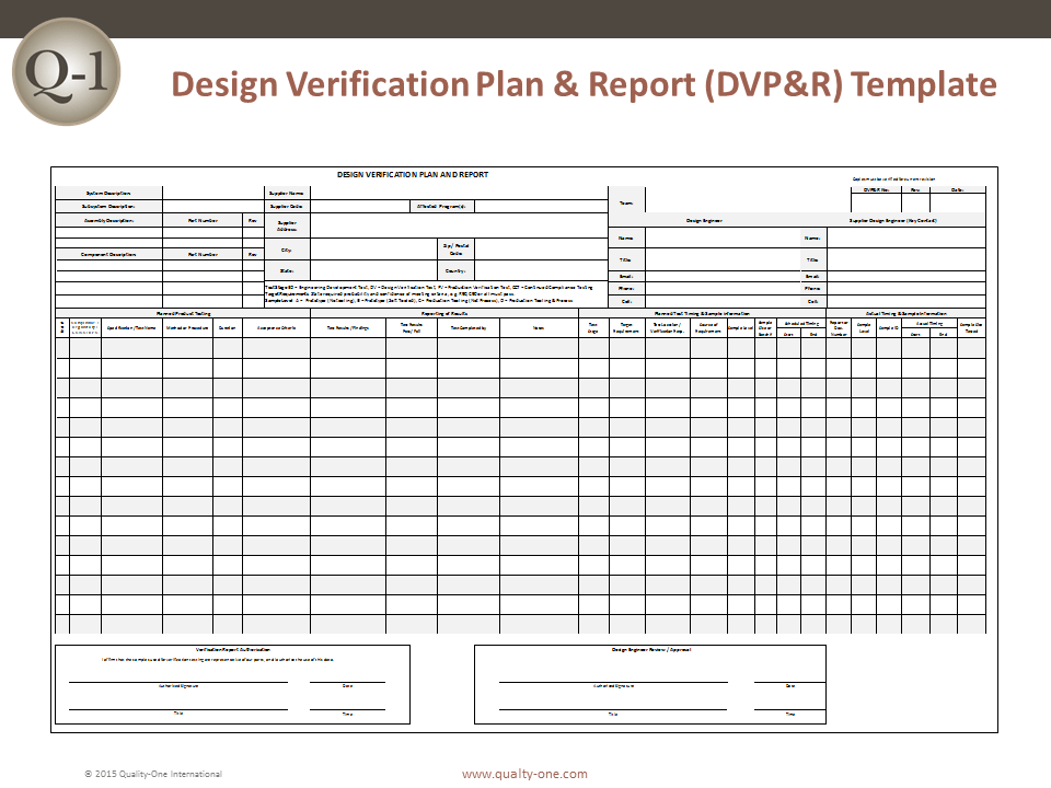 Dvpr Template Quality One