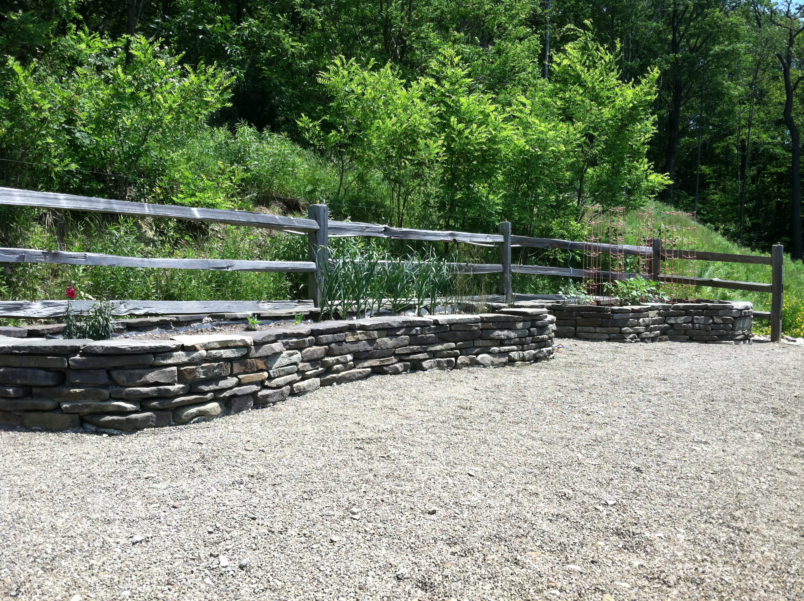 Custom Stone Raised Beds
