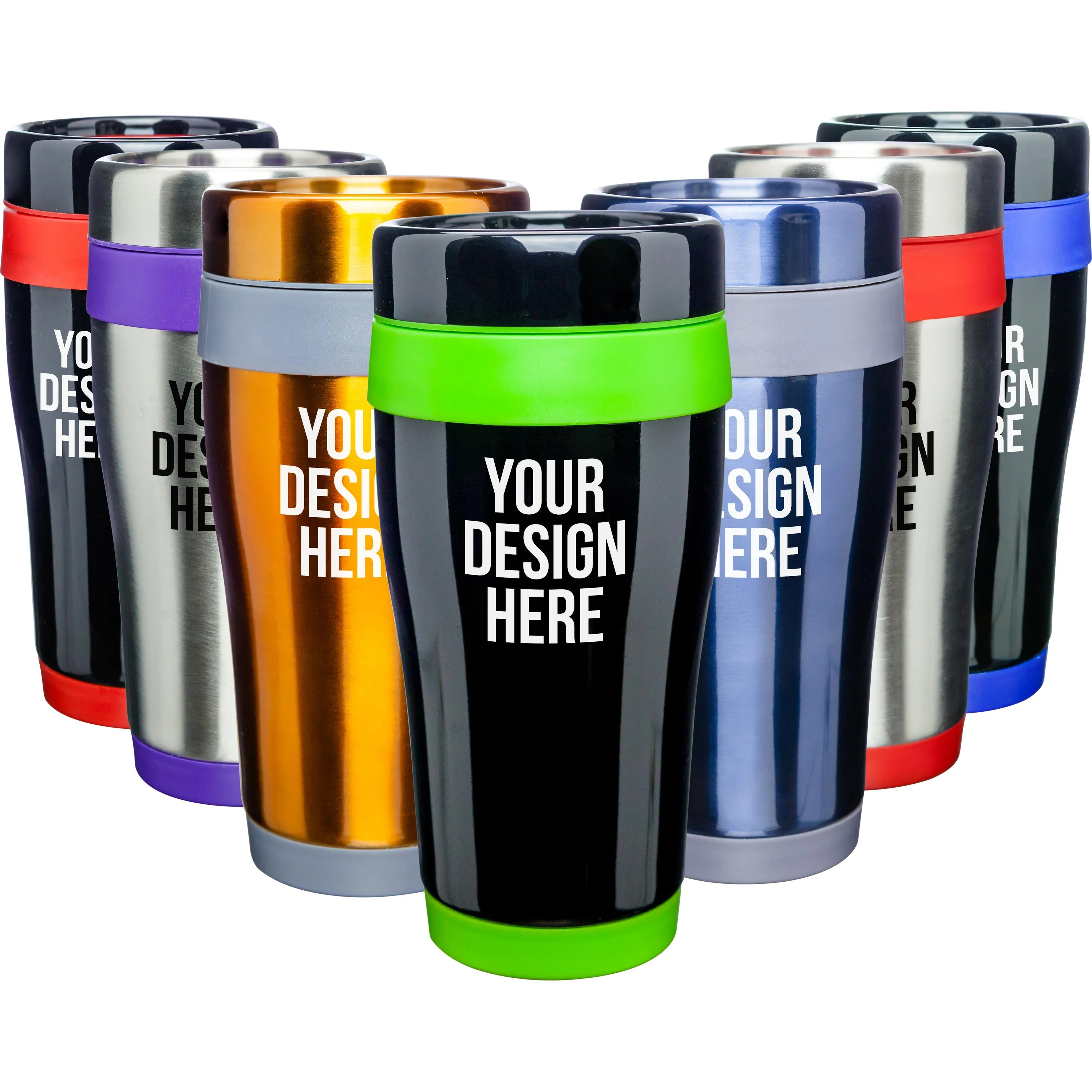 Promotional 16 Oz Stainless Steel Curvy Tumblers With