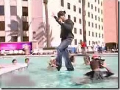 criss angel walks across a swimming pool..yeah right