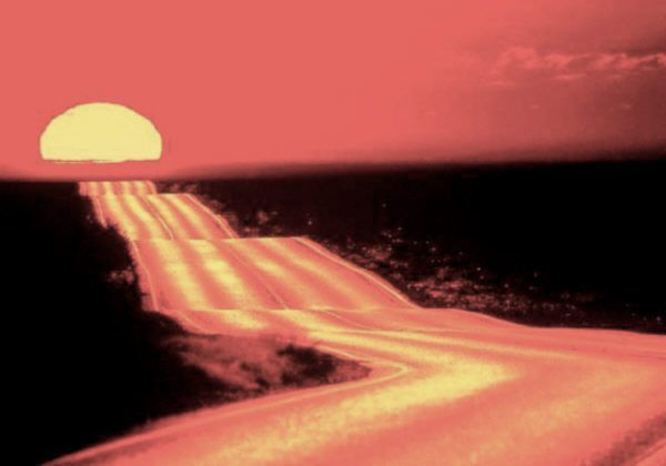 image of a sunset on a road
