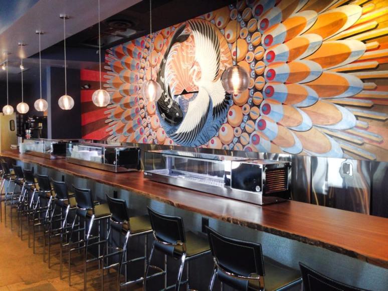 Crane & Koi.  Squid Ink Scottsdale Mural.  420 sq. ft.
