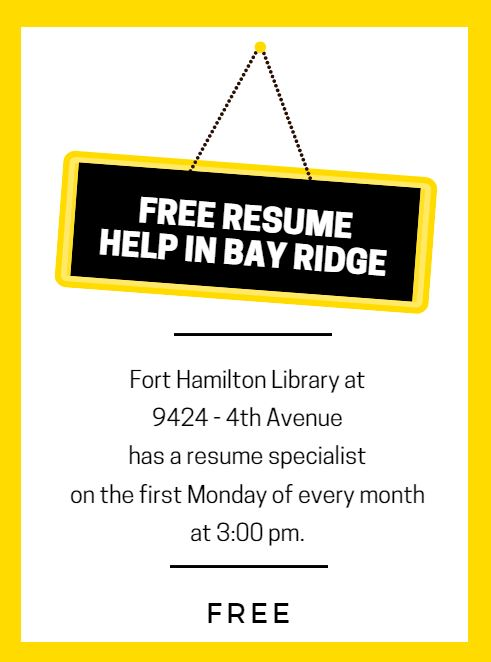 Get Resume Help for Free at the Fort Hamilton Library in Bay Ridge