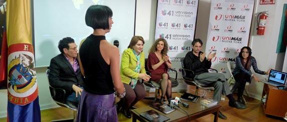 Desde la izquierda, Juan Carlos Carvajal, Diana Vargas, promotora de cine, Gladys Cifuentes, y Juan Fisher. Foto Javier Castaño