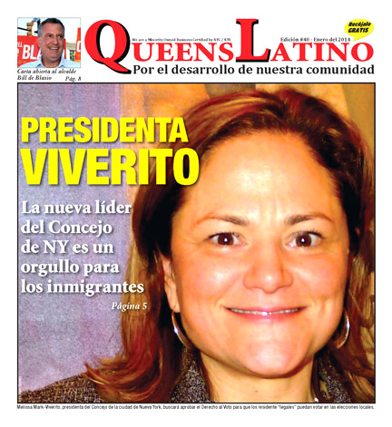 Front page of QueensLatino, January 2014 edition.
