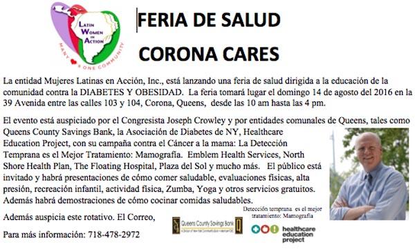 Feria de salud en Corona y examen para detectar el cáncer de mama