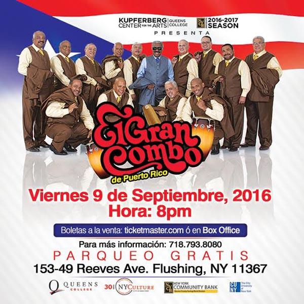 El Gran Combo llega al Queens College con su salsa el viernes 9 de septiembre
