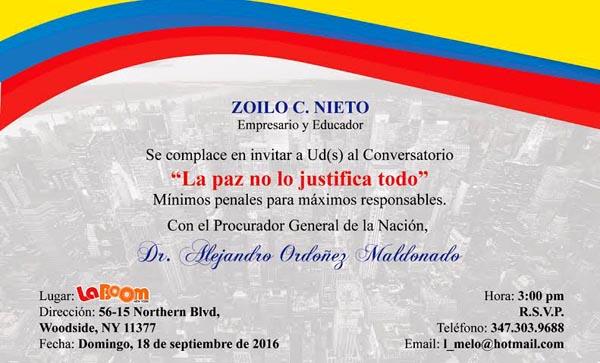 Zoilo Nieto invita a diálogo con Procurador Alejandro Ordoñez sobre el Proceso de Paz en Colombia