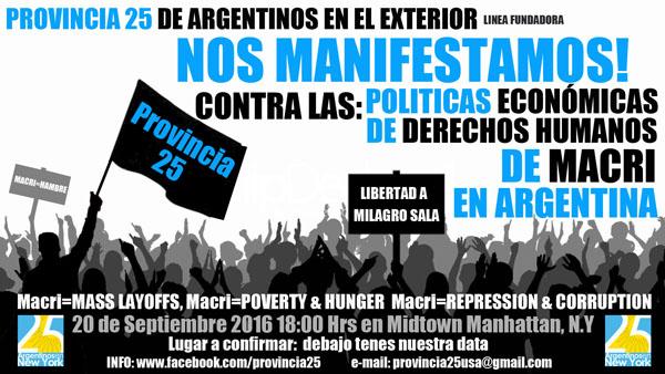 Argentinos protestan en Manhattan este domingo contra políticas del presidente Macri