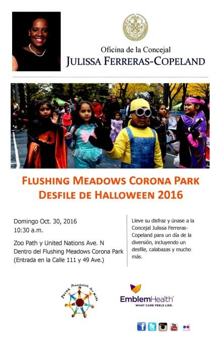 Concejal Ferreras patrocina desfile de Halloween este domingo 30 de octubre en el Parque Flushing de Queens