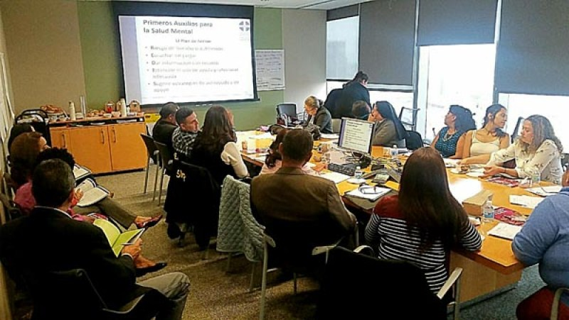 Escena del taller de salud mental dirigido a líderes religiosos en la ciudad de Nueva York. Foto cortesía