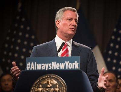 Alcalde Bill de Blasio en Cooper Union. Foto NYC