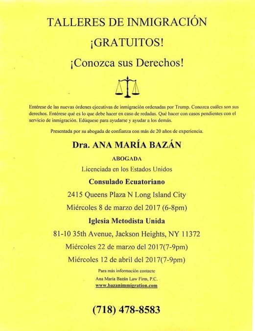 Abogada Ana María Bazán explica las leyes de inmigración a la comunidad en varios talleres
