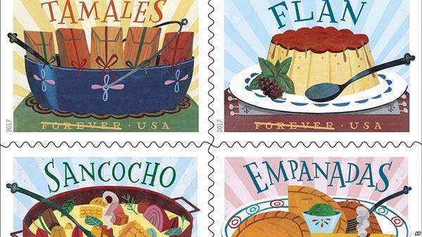 Estampillas en honor a la comida latina