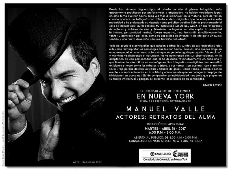 Retratos de Manuel Valle en Consulado de Colombia en NY este martes 18 de abril