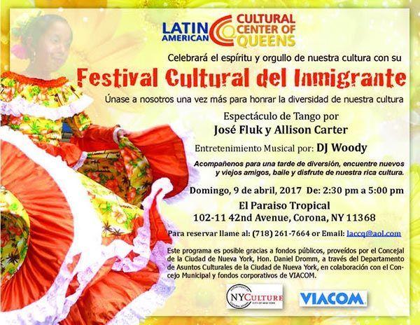 Festival Cultural del Inmigrante del LACCQ este domingo 9 de abril en Corona