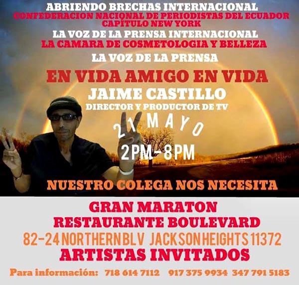 Periodistas latinos por la salud de Jaime Castillo en el Boulevard