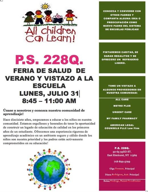 Feria de salud en escuela PS 228 de Queens este lunes 31 de julio