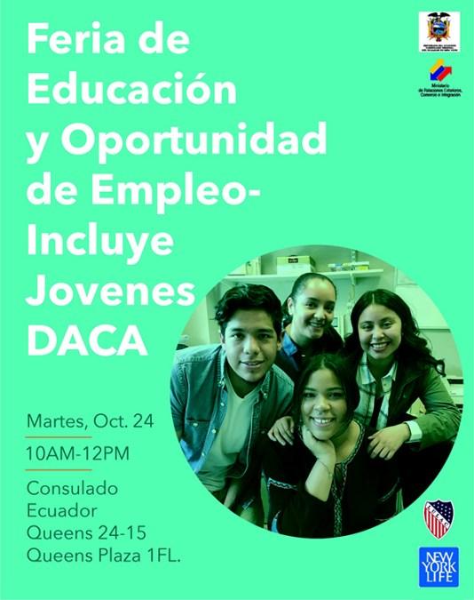Feria de educación para jóvenes de DACA en Consulado de Ecuador en Queens este martes 24 de octubre