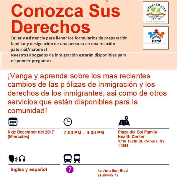 Conozca sus derechos de inmigrante en Plaza del Sol de Corona este miércoles