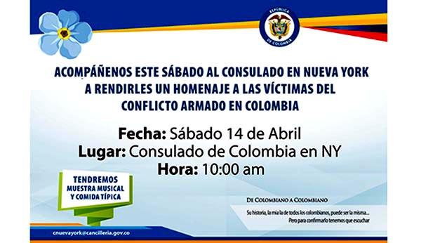 Consulado de Colombia NY homenaje a víctimas de conflicto