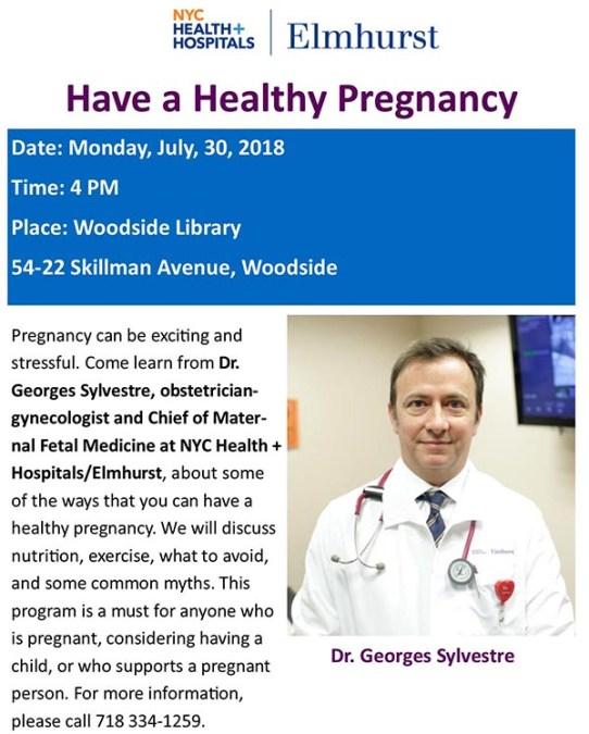 Charla sobre embarazo saludable en Biblioteca de Woodside