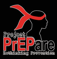 Project PrEPared - rethinking HIV prevention logo of a head with a red bandana