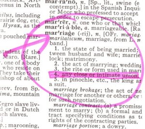 'marriage' as defined in the dictionary includes 'any close or intimate union'