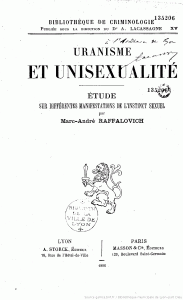Uranisme et unisexualite by Marc-Andre Raffalovich