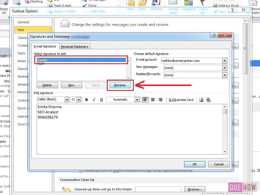 How to edit Signature in Outlook 2010 Step 6 (with Images) - QueHow