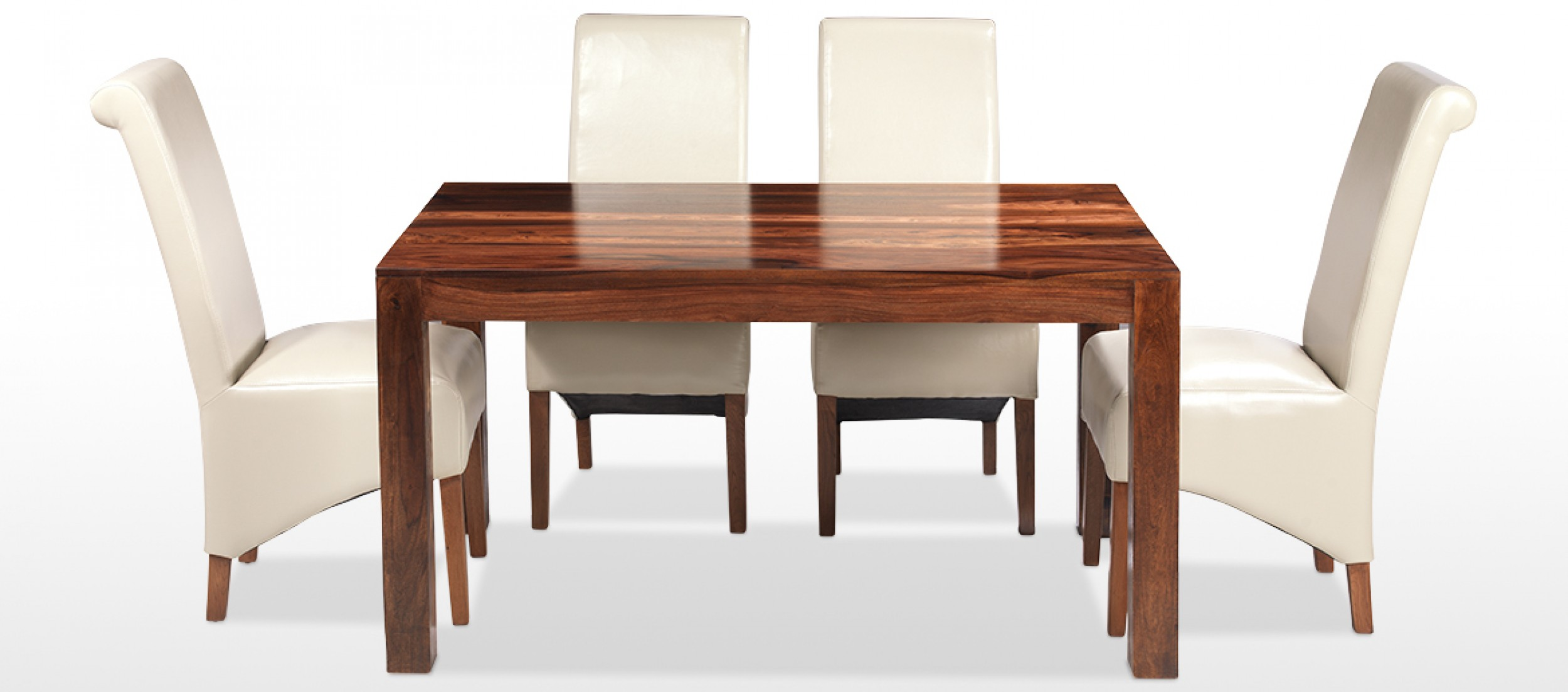 Table 140 Cube Sheesham 140 Cm Dining Table And 4 Chairs