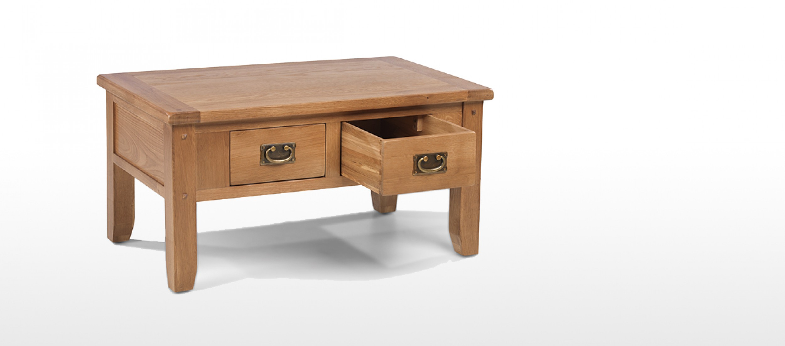 ccc8e3a2a73b Rustic Oak Small 2 Drawer Coffee Table Quercus Living