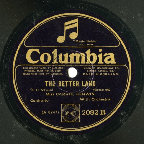 GB COL 2082 R CARRIE HERWIN F.H. Cowen THE BETTER LAND/THE CHILDREN'S HOME